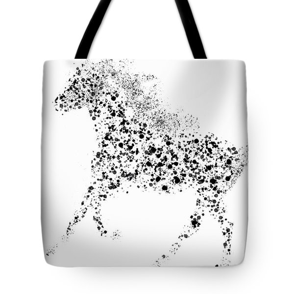 Tote Bag featuring the drawing Ink Splattered Stallion by Nick Gustafson
