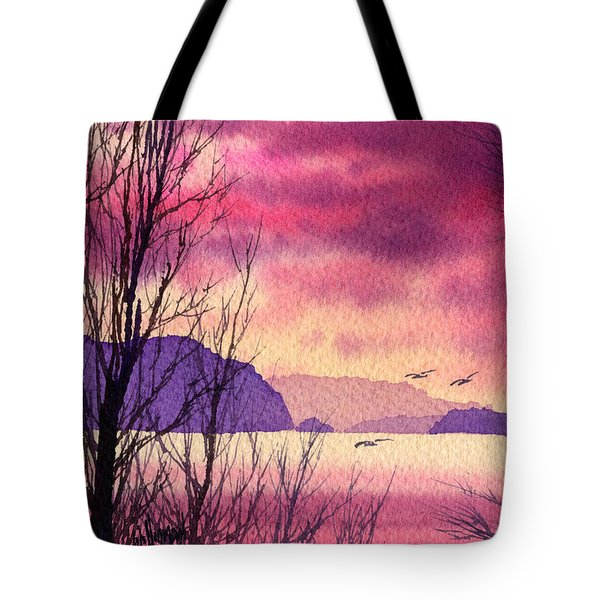 Tote Bag featuring the painting Inland Sea Islands by James Williamson