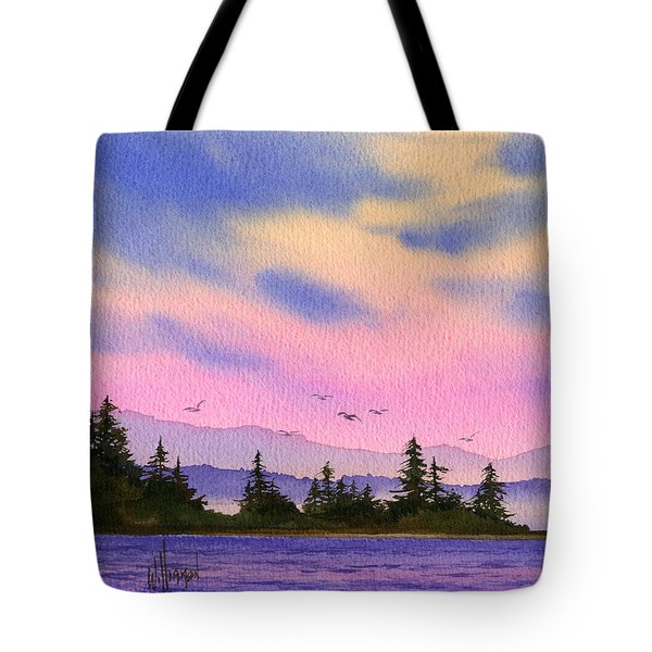 Tote Bag featuring the painting Inland Sea Sunset by James Williamson