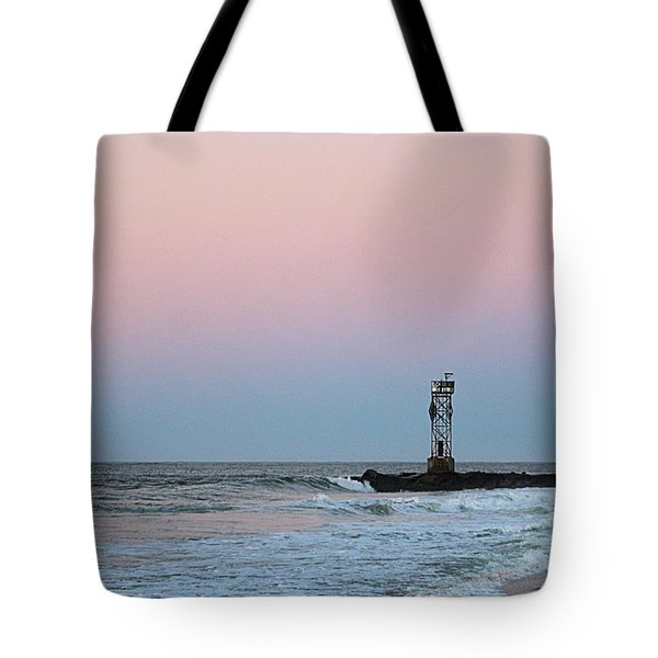 Tote Bag featuring the photograph Inlet Jetty At Dawn by Robert Banach