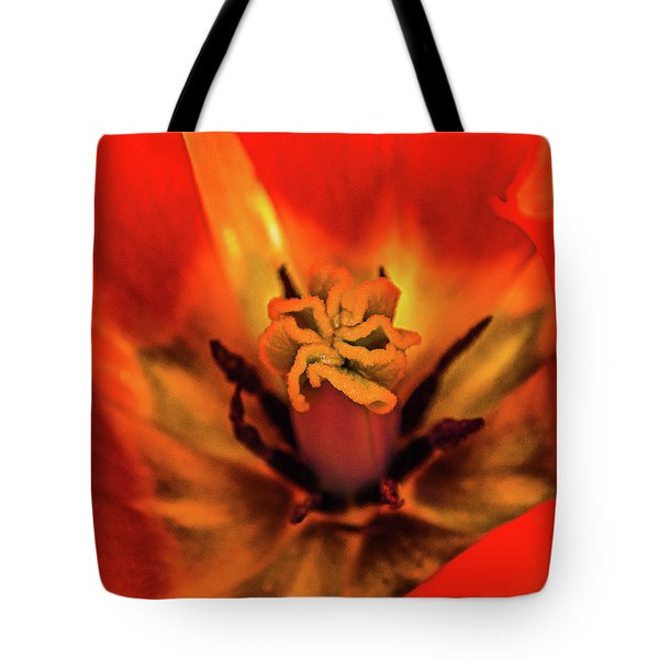 Tote Bag featuring the photograph Inner Floral Macro Abstract by Julie Palencia