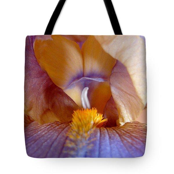Inner Iris Series, Yellow Purple Tote Bag