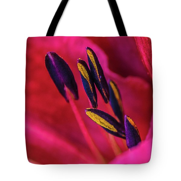Tote Bag featuring the photograph Inner Lily Macro Two by Julie Palencia