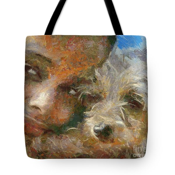 Tote Bag featuring the painting Innocent Love by Dragica  Micki Fortuna