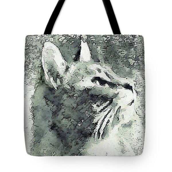 Inquisitive Cat Gray Scale Tote Bag