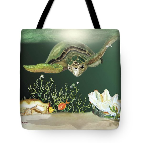 Inquisitive Turtle Tote Bag