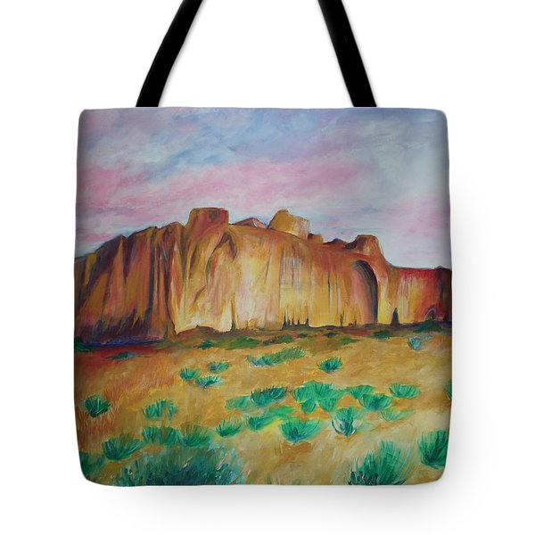 Tote Bag featuring the painting Inscription Rock  by Eric  Schiabor