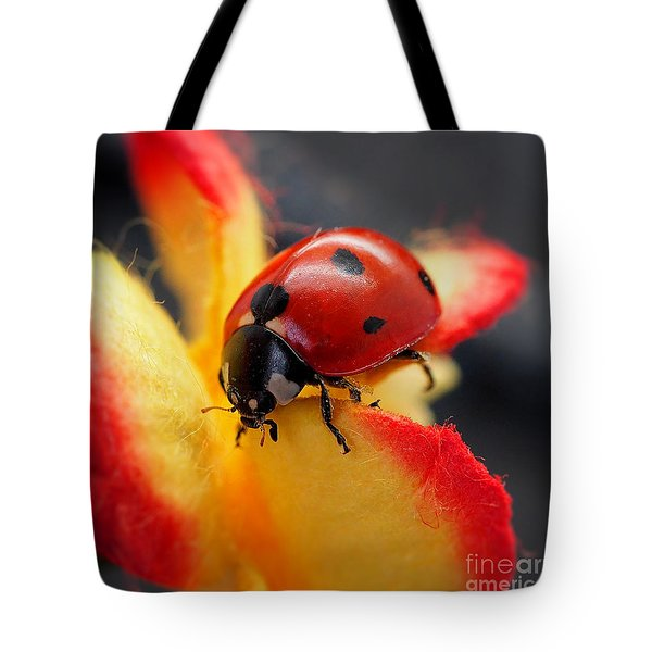 Insect Ladybug On A Paper Flower Tote Bag