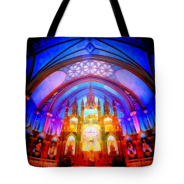 Inside A Cathedral Dark Tote Bag by Mario Carini