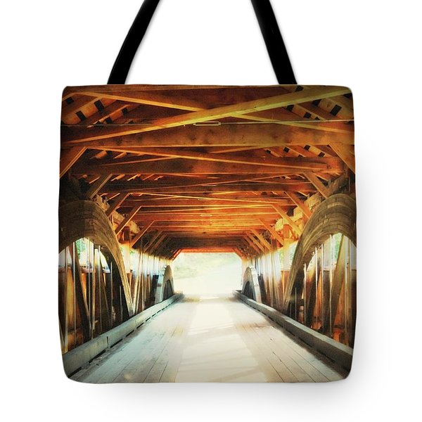 Tote Bag featuring the photograph Inside A Covered Bridge by Robin Regan