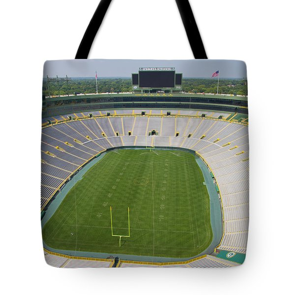 Tote Bag featuring the photograph Inside Lambeau Field by Joel Witmeyer