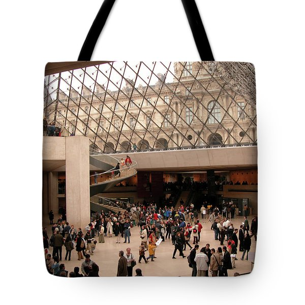 Tote Bag featuring the photograph Inside Louvre Museum Pyramid by Mark Czerniec