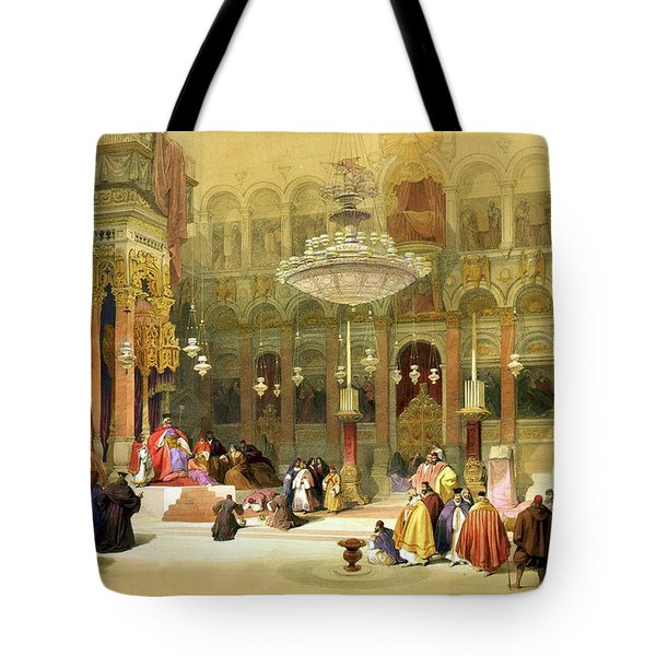 Inside The Church Of The Holy Sepulchre Tote Bag by Munir Alawi
