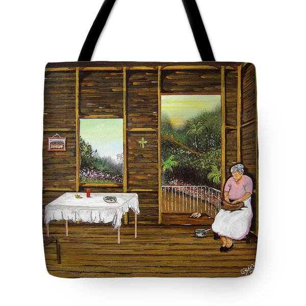 Inside Wooden Home Tote Bag