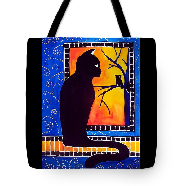 Tote Bag featuring the painting Insomnia - Cat And Owl Art By Dora Hathazi Mendes by Dora Hathazi Mendes