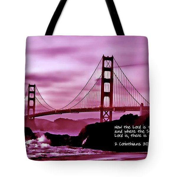 Inspirational - Nightfall At The Golden Gate Tote Bag