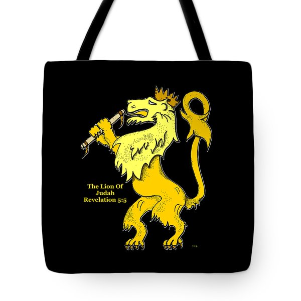 Tote Bag featuring the drawing Inspirational - The Lion Of Judah by Glenn McCarthy Art and Photography