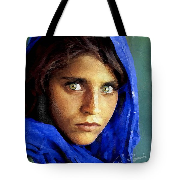 Inspired By Steve Mccurry's Afghan Girl Tote Bag
