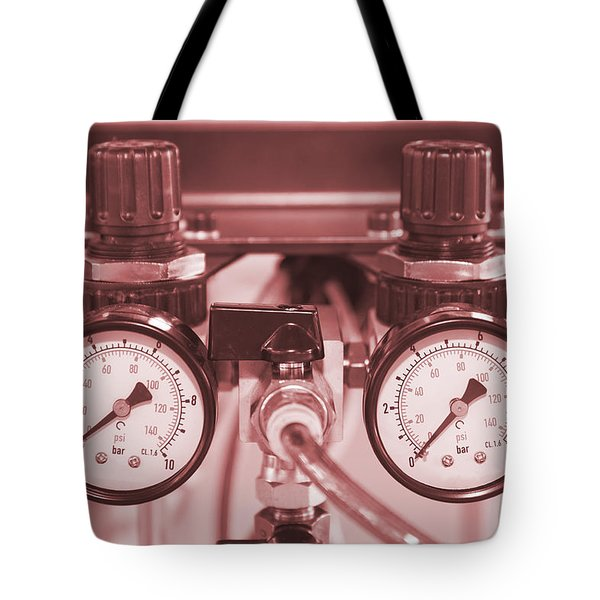 Instruments For Measuring Pressure In Red Hue Tote Bag