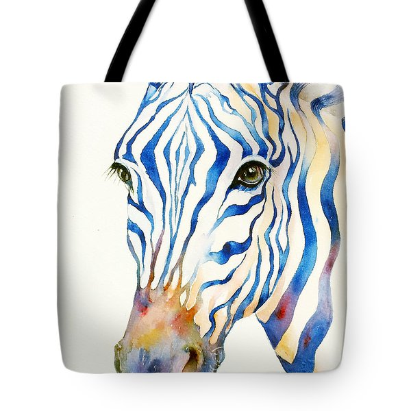 Intense Blue Zebra Tote Bag by Arti Chauhan