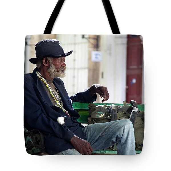 Tote Bag featuring the photograph Interesting Cuban Gentleman In A Park On Obrapia by Charles Harden