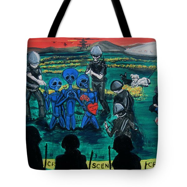 Tote Bag featuring the painting Intergalactic Misunderstanding by Similar Alien