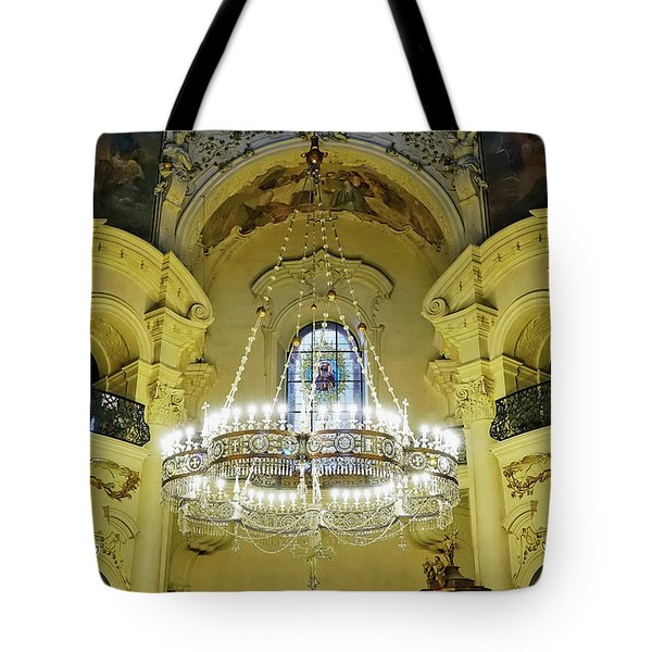 Interior Evening View Of St. Nicholas Church In Prague Tote Bag