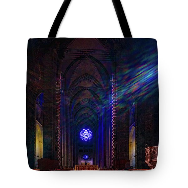 Tote Bag featuring the photograph Interior Looking Rearwards, Cathedral Of St. John The Divine by Chris Lord