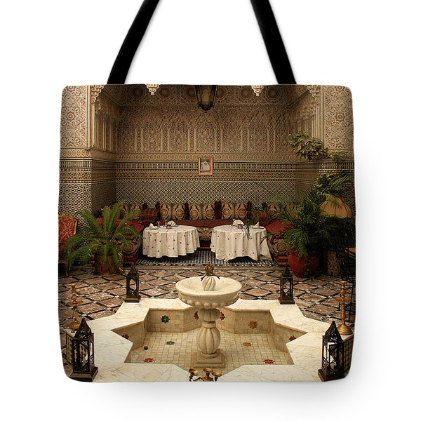 Interior Of A Traditional Riad In Fez Tote Bag