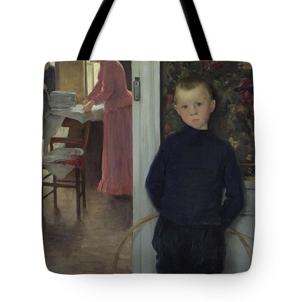 Interior With Women And A Child Tote Bag by Paul Mathey