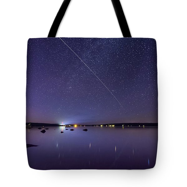 International Space Station Over Branch Lake Tote Bag