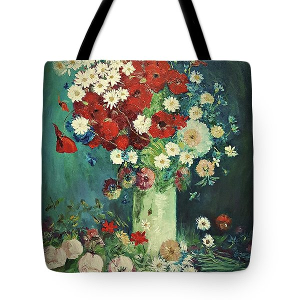 Interpretation Of Van Gogh Still Life With Meadow Flowers And Roses Tote Bag