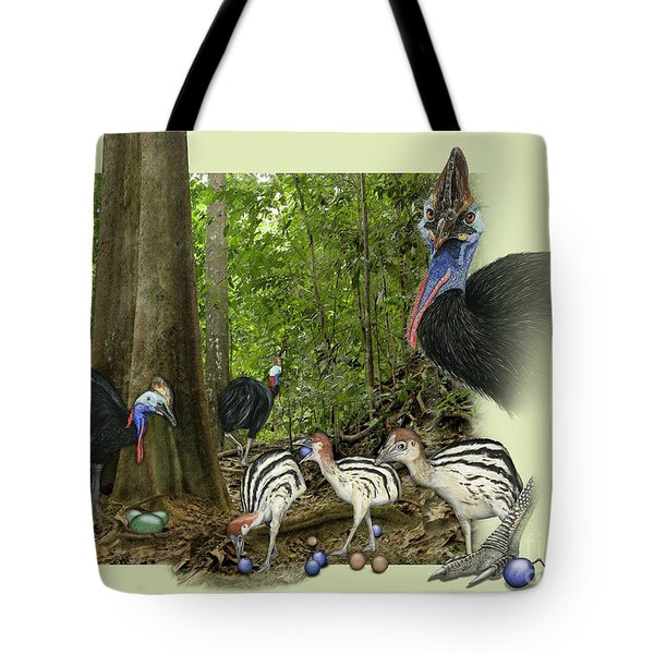Zoo Nature Interpretation Panel Cassowaries Blue Quandong Tote Bag