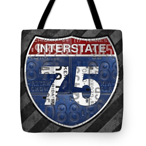 Interstate 75 Highway Sign Recycled Vintage License Plate