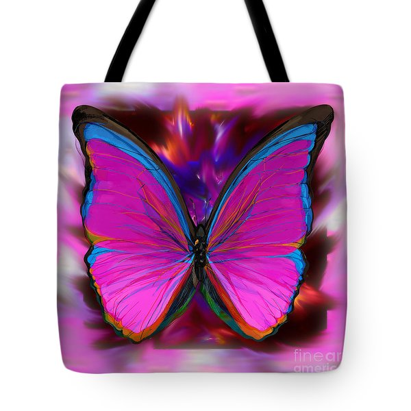 Into Pink Butterfly Tote Bag