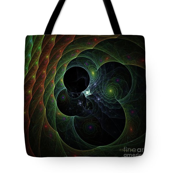 Tote Bag featuring the digital art Into Space And Time by Deborah Benoit