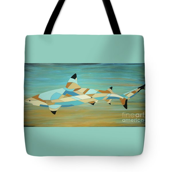 Into The Blue I Shark Painting Tote Bag