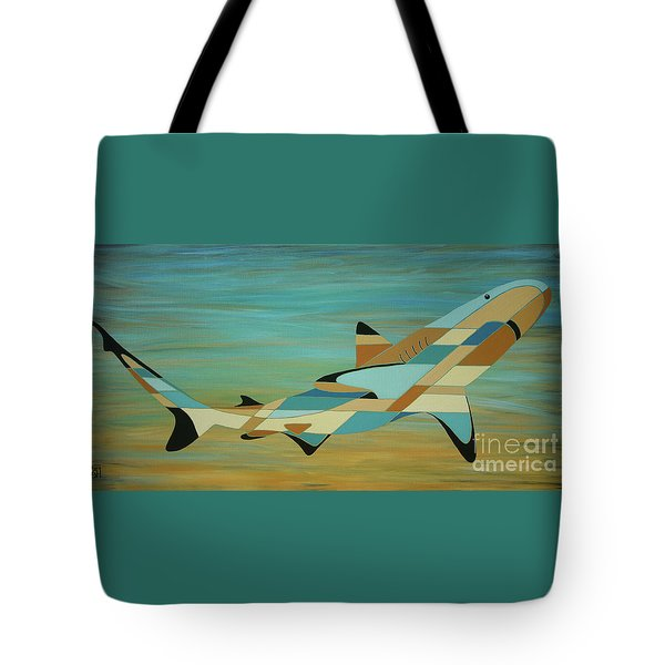 Into The Blue Shark Painting Tote Bag