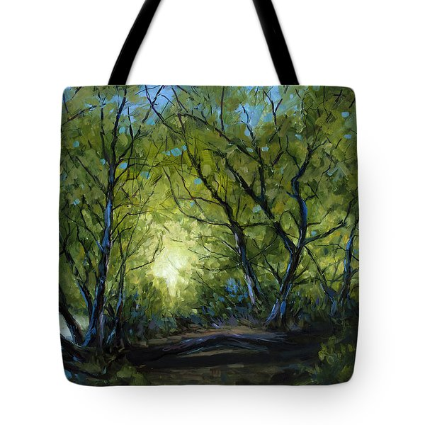 Tote Bag featuring the painting Into The Light by Billie Colson