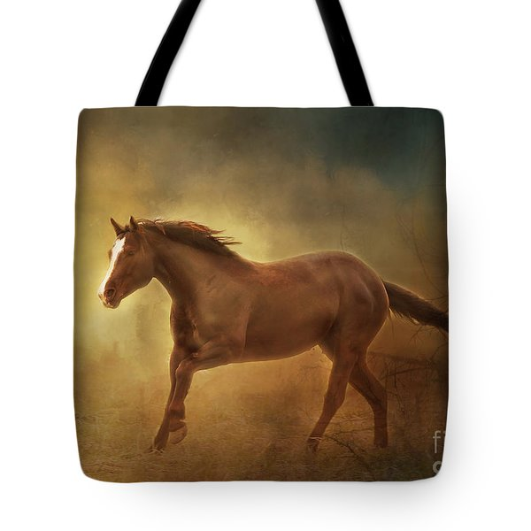 Into The Light Horse Digital Painterly Tote Bag by Clare VanderVeen