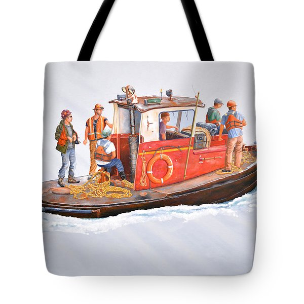 Tote Bag featuring the painting Into The Mist-the Crew Boat by Gary Giacomelli