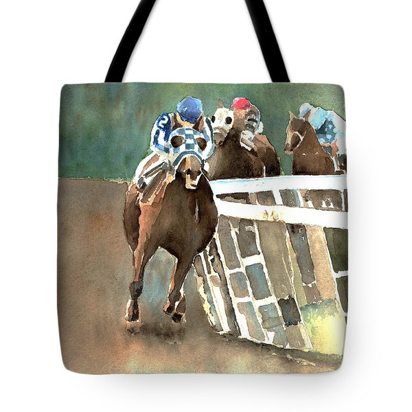 Into The Stretch And Headed For Home-secretariat Tote Bag by Arline Wagner