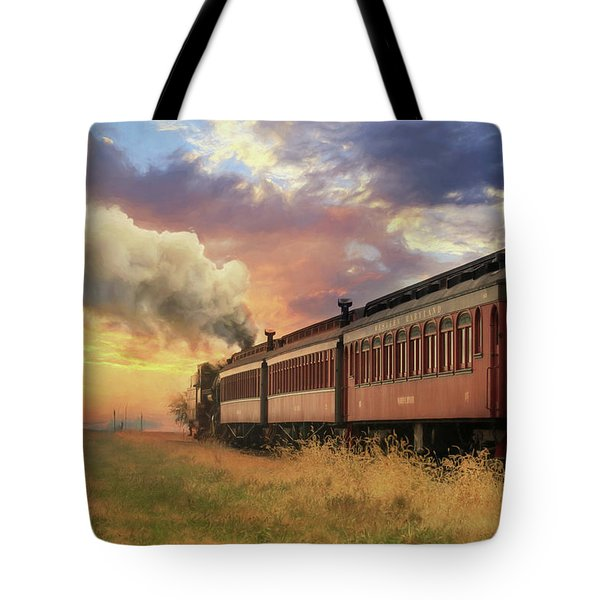 Tote Bag featuring the mixed media Into The Sunset by Lori Deiter