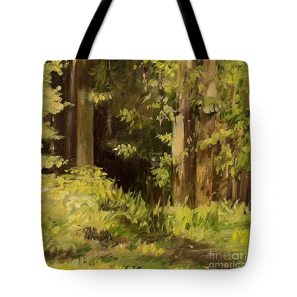 Tote Bag featuring the painting Into The Woods by Laurie Rohner