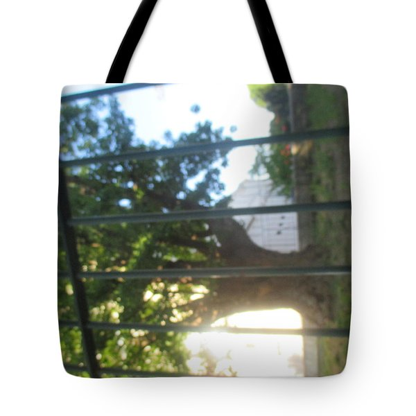 Inverted Tree Behind An Iron Gate Tote Bag