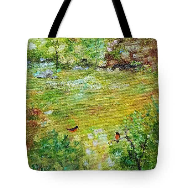 Tote Bag featuring the painting Invincible Spring by Judith Rhue