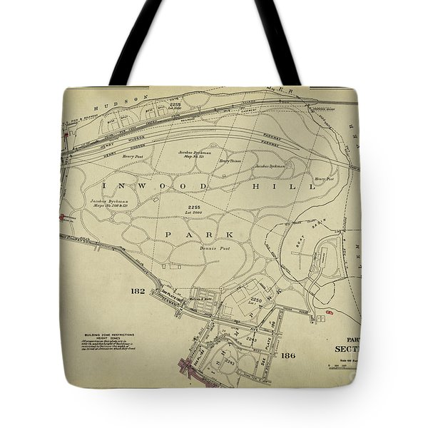 Tote Bag featuring the photograph Inwood Hill Park 1950's Map by Cole Thompson