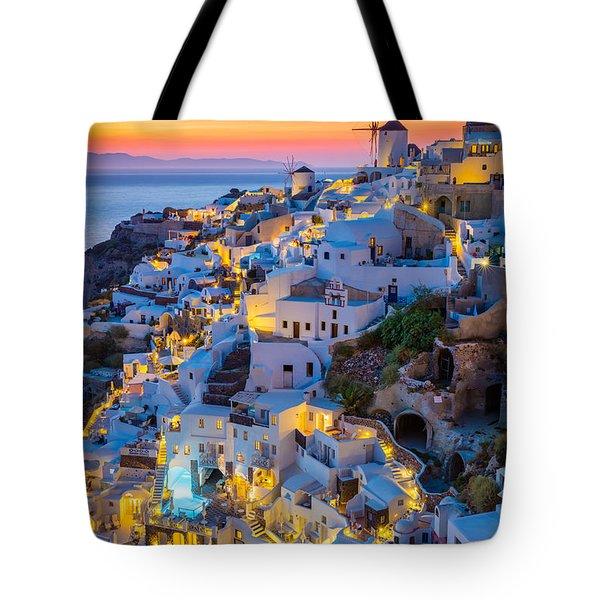 Oia Sunset Tote Bag