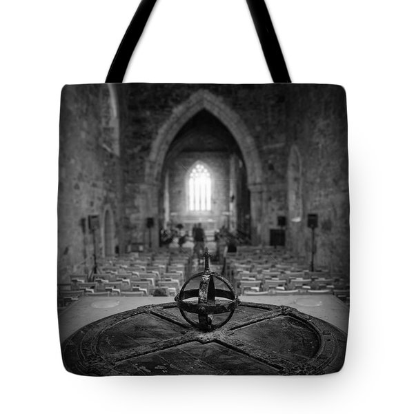 Tote Bag featuring the photograph Iona Abbey Interior by Ray Devlin