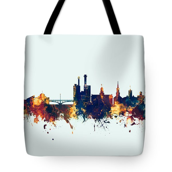Tote Bag featuring the digital art Iowa City Iowa Skyline by Michael Tompsett